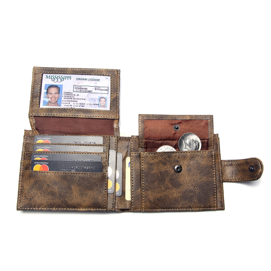 Luxury Designer Mens Wallet Leather PU Bifold Short Wallets Men Hasp Vintage Male Purse Coin Pouch Multi-functional Cards Wallet 2