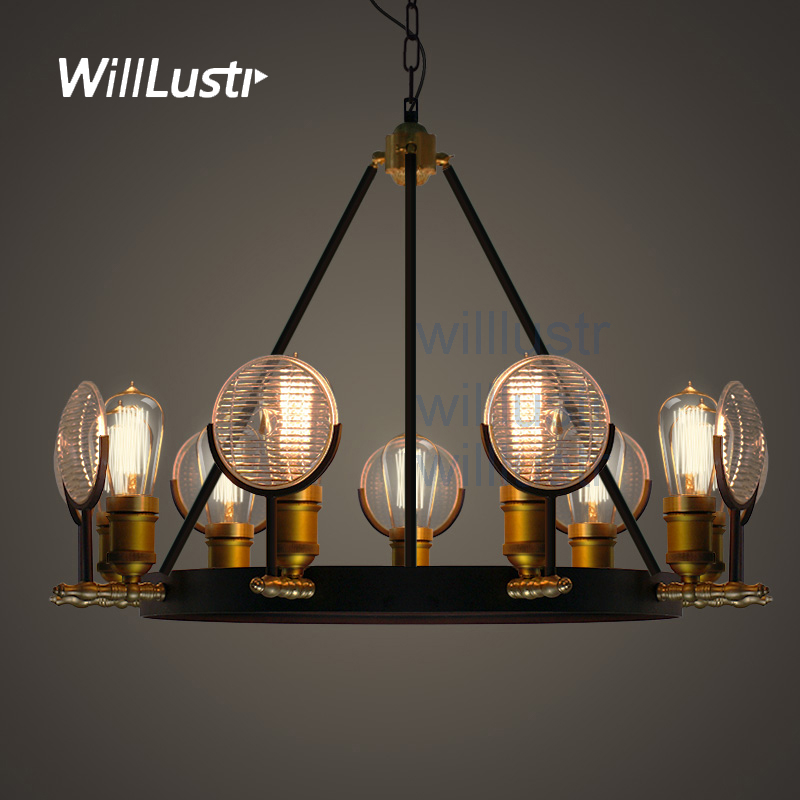 Willlustr vintage ribbed glass shade pendant lamp metal antique bronze suspension light Bar cafe hotel home use hanging Lighting art deco vintage industrial metal wire cage pendant light guard rustic ceiling mounted lamp cafe pub hotel porch bar