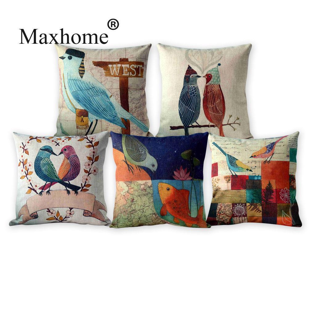 French Country Style Cotton Linen Pillowcase Retro Bird Sofa Room Square Decorative Pillow Home Decor Throw Cushion 45