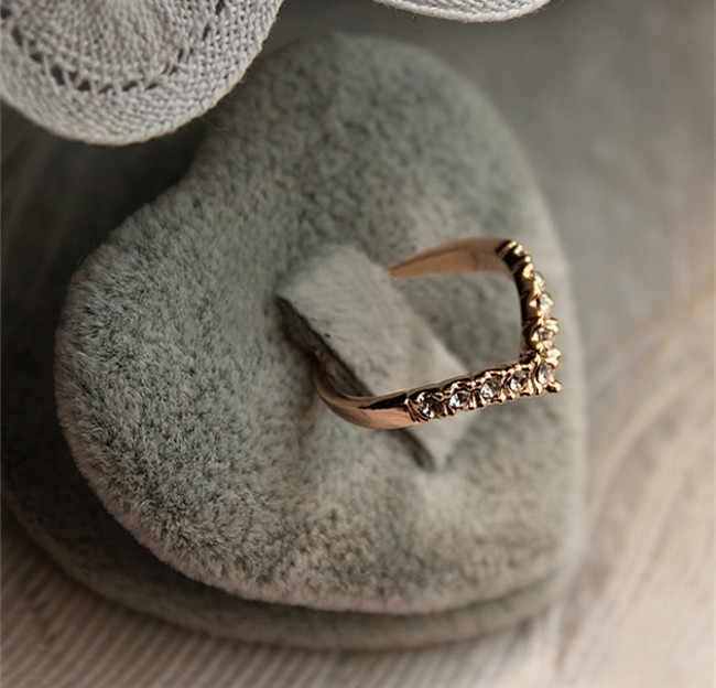 تصميم فريد من نوعه موجزة بسيطة نمط حجر الراين كريستال على شكل حرف V الذيل الدائري 8CRD23-2