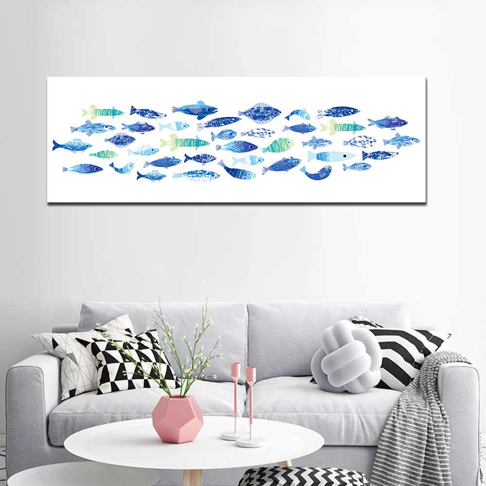 Minimalist Wall Art Canvas Painting Watercolor Cactus Poster Nordic Art Fish Wall Pictures Colorful Feather Paintings for Office