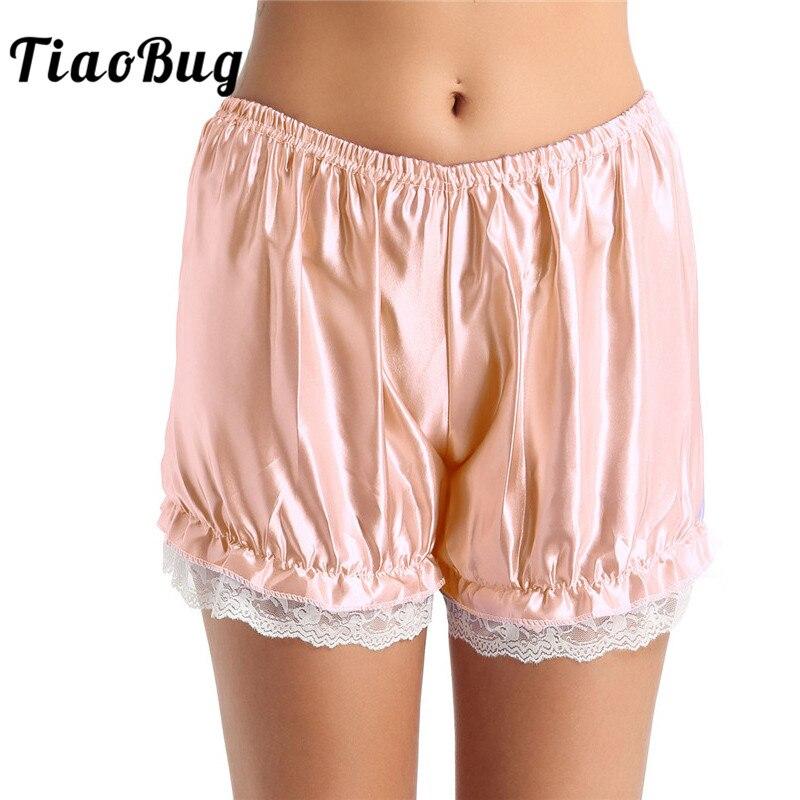 Women/'s Silky Satin Pettipants Loose Bloomer Panties Short Slip Security Shorts