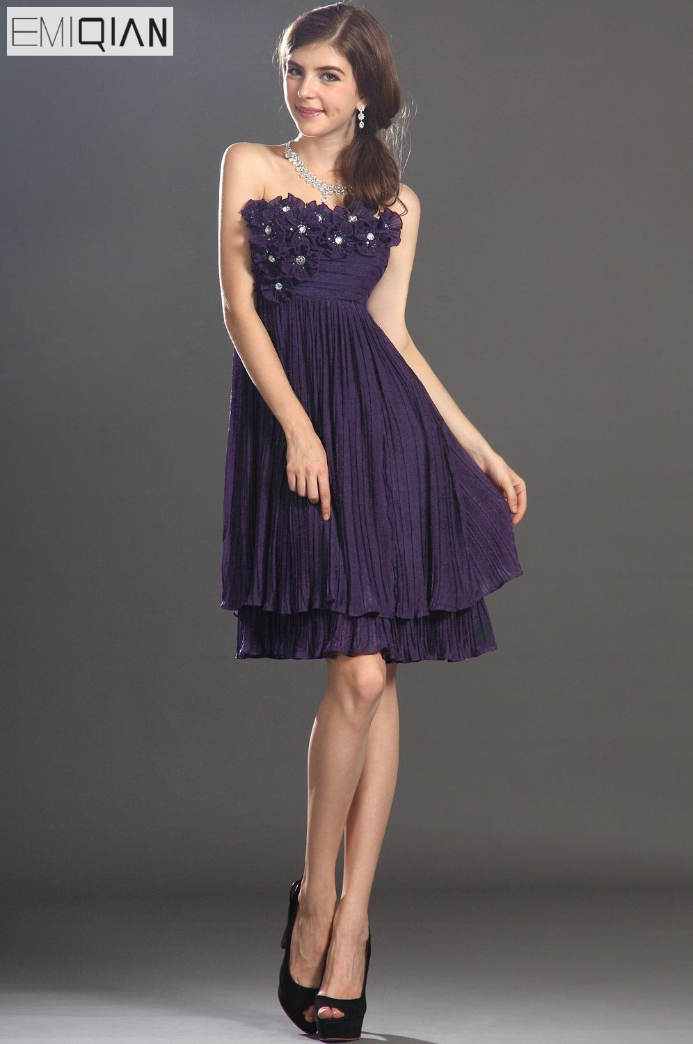 Free Shipping New Strapless Sweety Hand-made Flowers   Cocktail     Dress