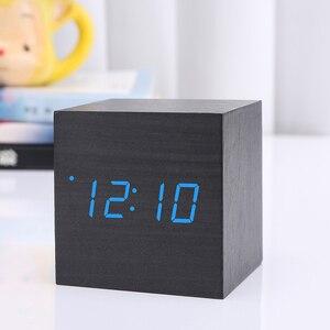 Image 3 - Hot Sale Multicolor Sounds Control Wooden Clock Modern Wood Digital LED Desk Alarm Clock Thermometer Timer Calendar Table Decor