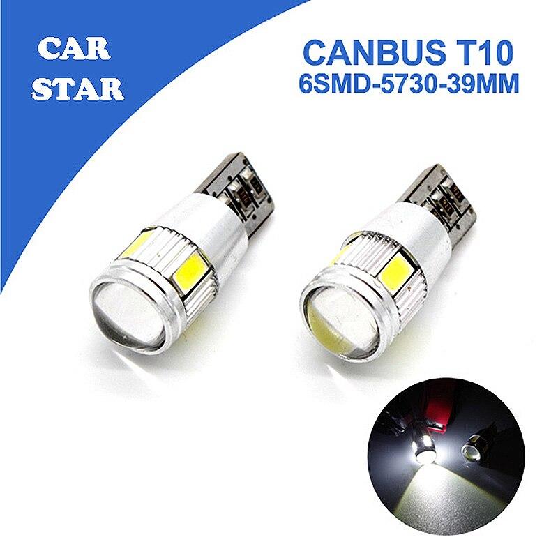 2х Т10 W5W и СИД canbus 6SMD 5730 без ошибок Белый авто светодиодные приборов загорается для Chevrolet BMW и VW Тойота бесплатная доставка