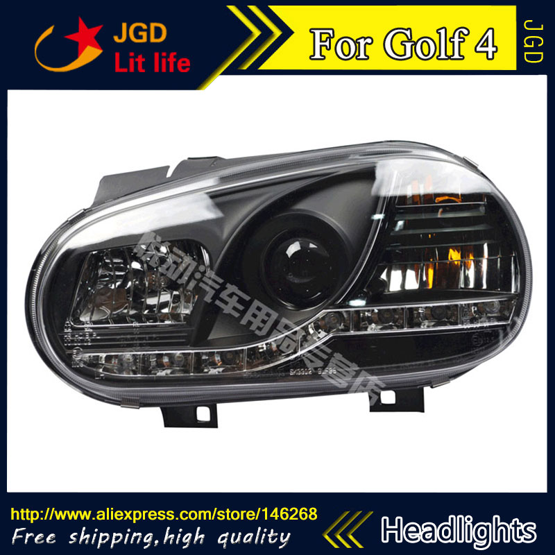 Free shipping ! Car styling LED HID Rio LED headlights Head Lamp case for VW Golf 4 Bi-Xenon Lens low beam free shipping for vland car styling head lamp for vw golf 7 headlights led drl led signal h7 d2h xenon beam