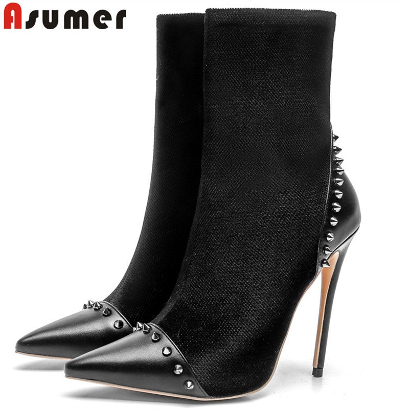 ASUMER 2018 fashion autumn winter shoes woman pointed toe zip ankle boots women flock thin high heels boots big size 33-43 2016 women knee high boots leather winter boots pointed toe zip casual shoes women high heels big size 32 45 black boots woman