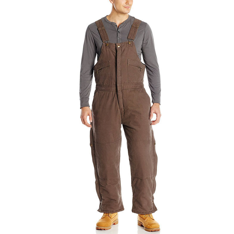 Bib overalls men thickening cotton padded work pants cold storage welding repair wear-resistant canvas sleeveless coveralls