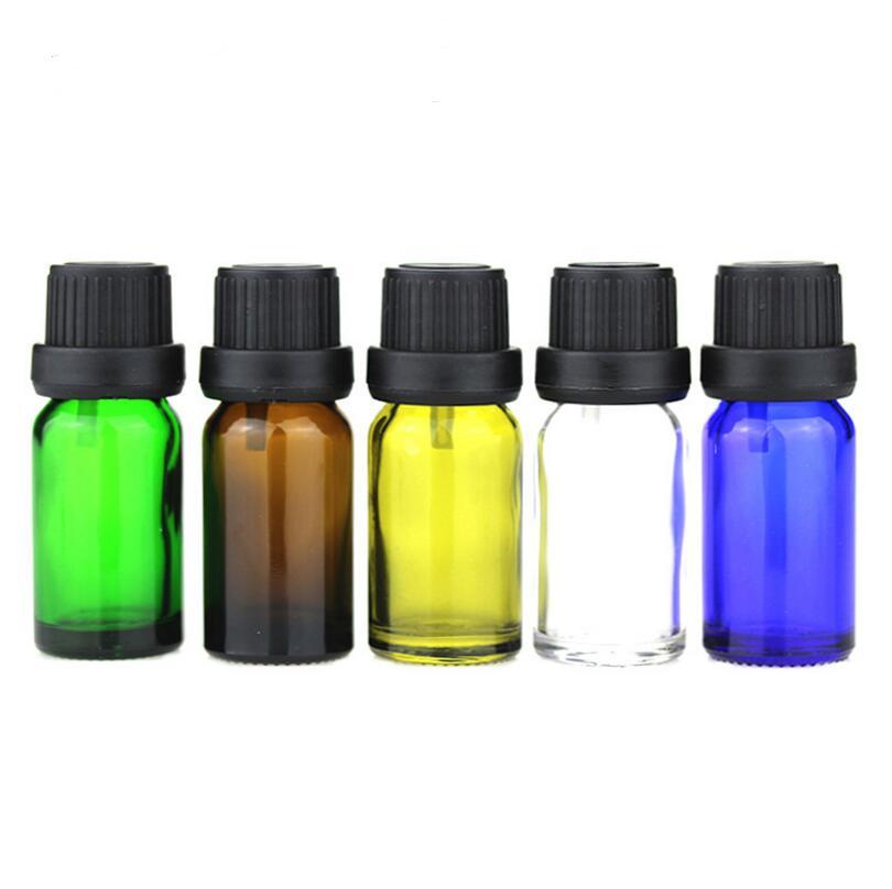 10ml 5 color Glass Essential Oil Bottle cap Clear Glass Vials Blue Glass bottle Green oil bottle 500pcs 100pcs new 2ml clear glass roll on bottle with clear cap