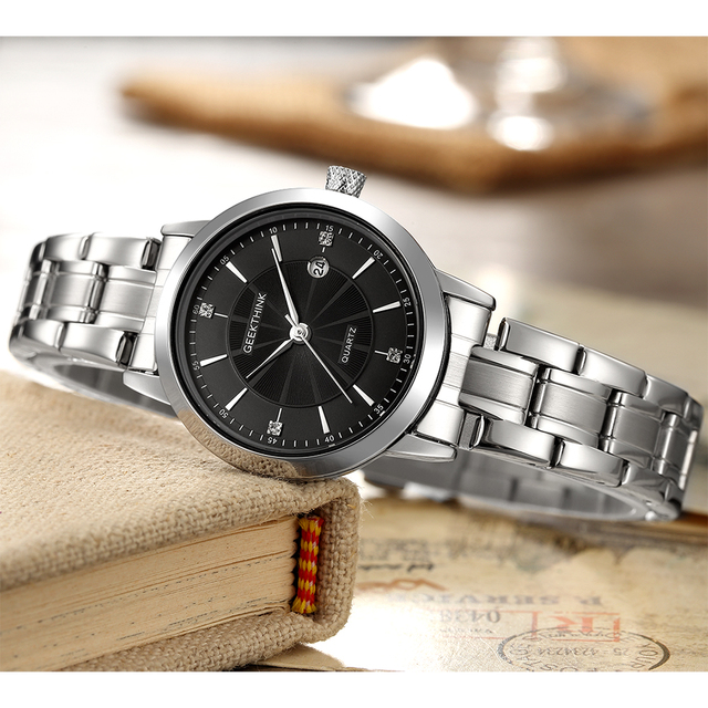 Black Stainless Steel Ladies Wrist Watch 1