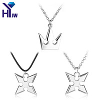 Hot Game Kingdom Hearts Metal Necklace Crown Shape Hearts Mountain Sora Key Pendant Silver Cosplay Accessories Jewelry Gift