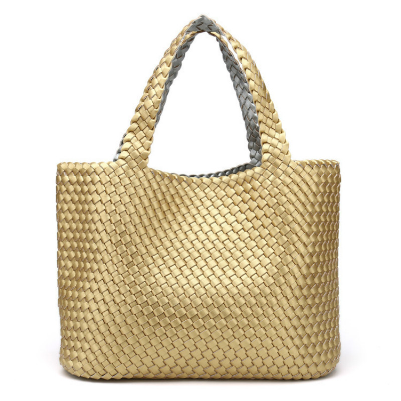 Super Recommend !! Ladies Handmade Knitting Handbag Criss-Cross Woven Leather Bag Women String Large Capacity Casual Tote Purse
