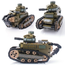 цены 368PCS building blocks compatible army soldiers military Renault FT17 tank weapon brick children educational toys