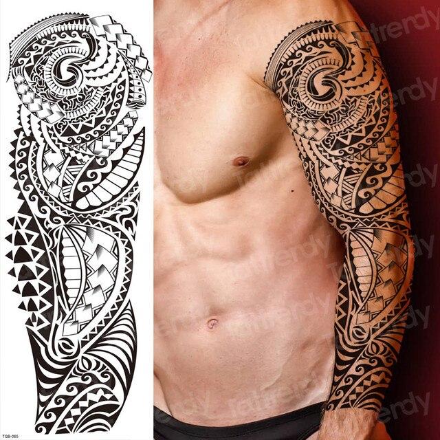Tymczasowe tatuaże dla mężczyzn ramię robota rękaw tatuaż mechaniczny wodoodporny tatuaż duże czarne naklejki body tatoo fałszywy transfer duży