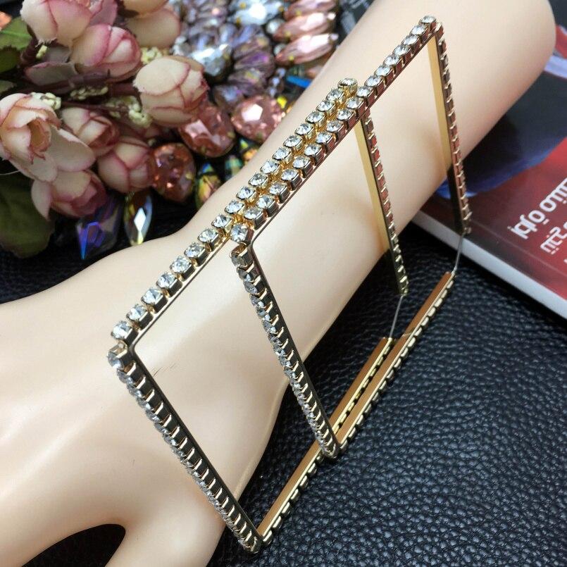 c5891935d9 MANILAI Luxury 80mm Square Metal Big Hoop Earrings Statement Jewelry  Rhinestones Earrings For Women Wedding Jewelry Brincos 2017
