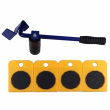 5pcs Furniture Transport Hand Tool Set Lifter Heavy Mover Rollers 4 Wheeled Corner Movers + 1