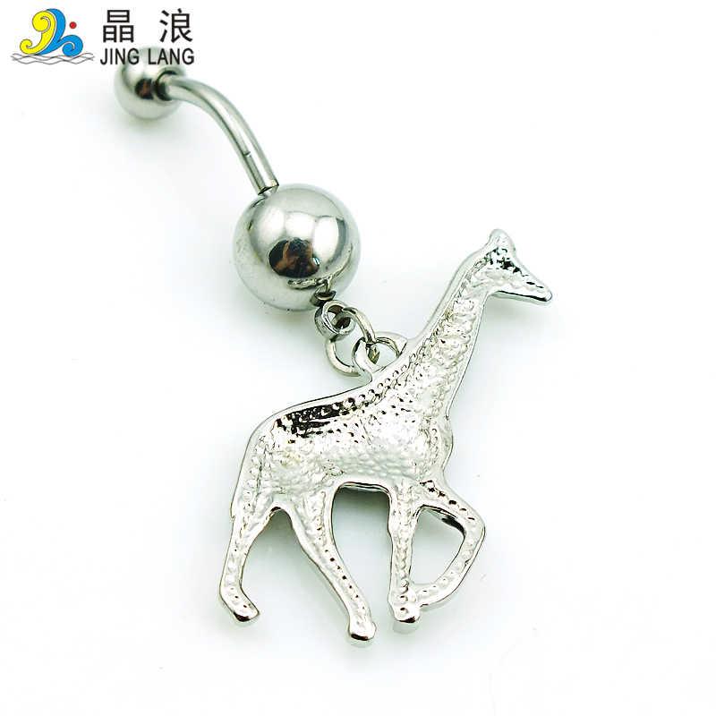 Body Piercing Fashion Belly Button Rings Surgical Steel Dangle Black Enamel Giraffe Navel Rings Jewelry