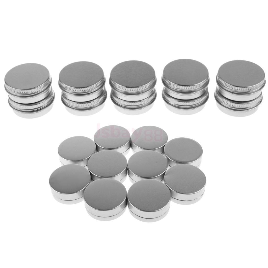 Lots 20 Pieces 10g 15g Empty Round Aluminum Tin Storage Jar Cosmetics Cream Containers with Screw Lids for Candles Balm Salves greenco mini food storage containers condiment and sauce containers baby food storage and lunch boxes leak resistant 2 3 oz each round containers set of 20