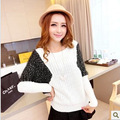Autumn new arrival 2013 gold double colorant match fashion all-match women's mohair o-neck long-sleeve sweater