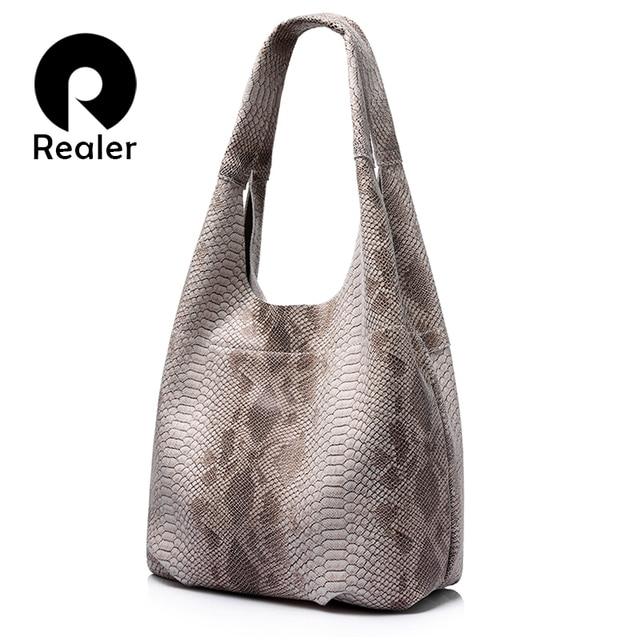 REALER brand women genuine leather handbag casual large capacity tote bag female serpentine pattern leather shoulder bag