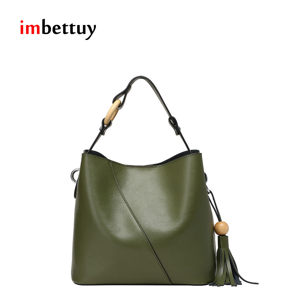 IMBETTUY Women's Fashion Casual Bucket Genuine Leather Shoulder Messenger Crossb