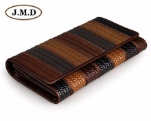 JMD Free Ship Vintage Genuine Cow Leather 3 Folded Fringe Pattern Women Wallet Lady Money Holder 8092-1C