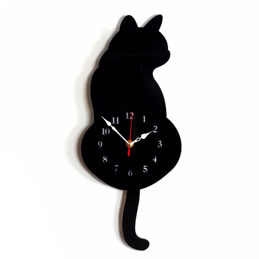Lovely Cute Design Animal Cat Wall Clock Household Living Room Acrylic Wagging Tail Wall Clocks Home Decoration
