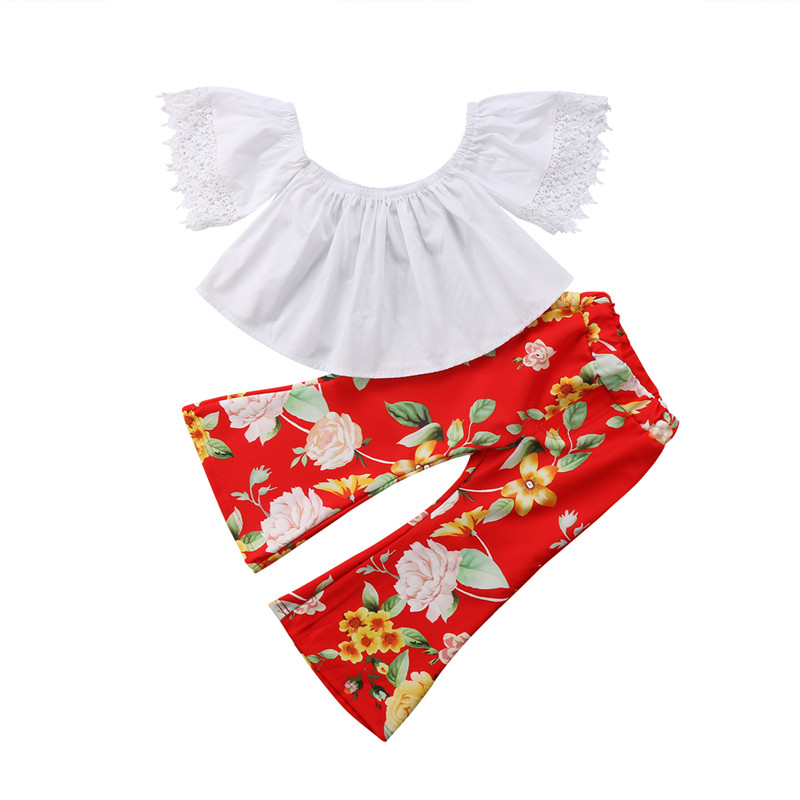 1-six années de Vêtements Pour Enfants 2018 D'été Enfants Fille Dentelle Off-épaule Tube Tops Floral Cloche-bas Tenues Bébé filles Vêtements Set