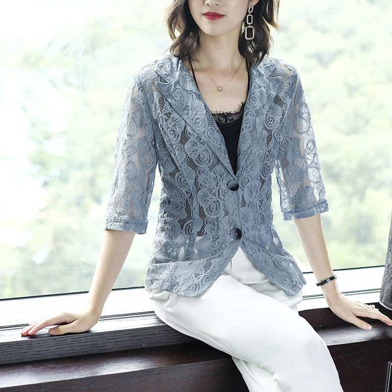 Summer Lady Half Sleeve Lace Slim Fit Suit Jacket Blue Business Casual Suit Tops Work Wear Lace tops