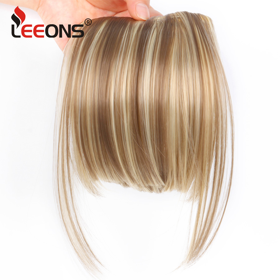 Leeons Natural Blunt Clip-In Dark Light Brown Black Synthetic False Fringe Pure