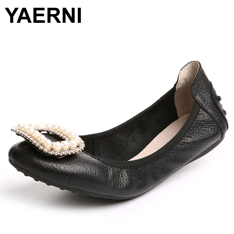 YAERNI Plus Size Ballet Shoes Flats For Women Shoes Fold Up Real Leather Ballet Shoes Top Quality Genuine Leather Shoes For Wome princess poppy ballet shoes