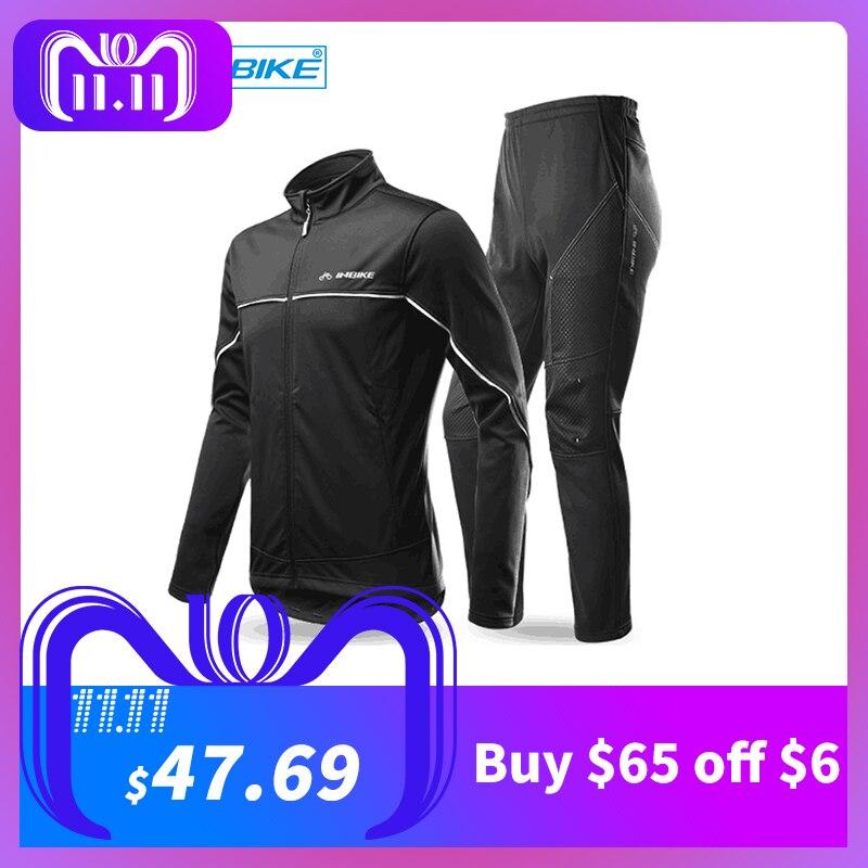 INBIKE Winter Men's Cycling Jacket Pants Set Fleece Warm Thermal Windbreaker Shell Coat Windproof Clothing Climbing Bike Suit inbike outdoor cycling polyester spandex jacket pants for men white black