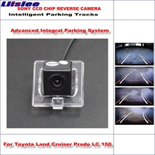 Liislee Intelligentized Reversing Camera For Toyota Land Cruiser Prado LC 150 LC150 2010~2014 / Camera Dynamic Guidance Tracks for toyota land cruiser prado lc 150 lc150 2010 2014 car parking camera with tracks module rear camera ccd night vision