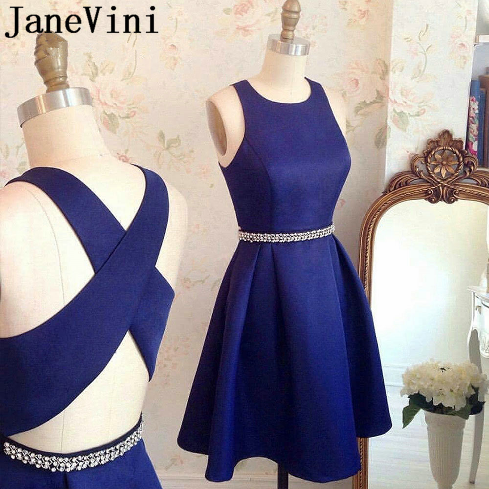 JaneVini Navy Blue Beaded Robes Cocktail Dresses Short Cross Back Girls Formal Party Dress Cocteleria Plus Size Satin Dress
