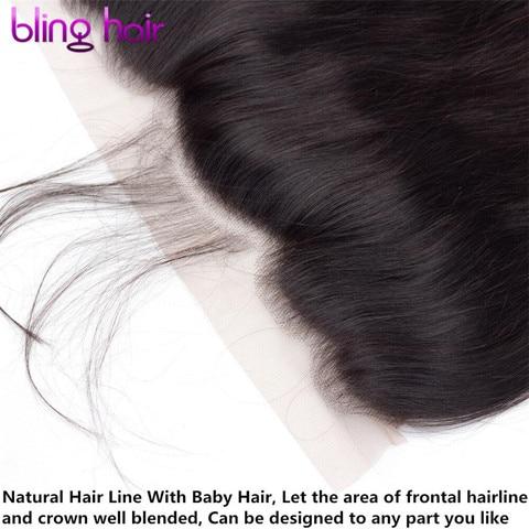 Bling Hair 13x6 Lace Frontal Closure Malaysian Straight Human Hair Closure with Baby Hair 100% Remy Hair Closure Natural Color Karachi
