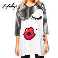 Hodoyi Black and White Striped T-shirts Sexy Red Lip Chic Printed Crew-neck Tees Patchwork Casual Loose 3/4 Sleeve Women Tops