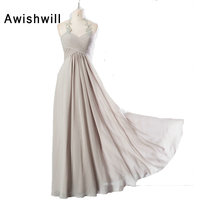 Modest Long Mother Of The Bride Dresses Spaghetti Strap Appliques Chiffon Gray Evening Dresses Cheap Wedding