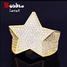 Anel de estrela masculino 18 k cobre charme cor do ouro anel de zircão completo moda hip hop rock jóias