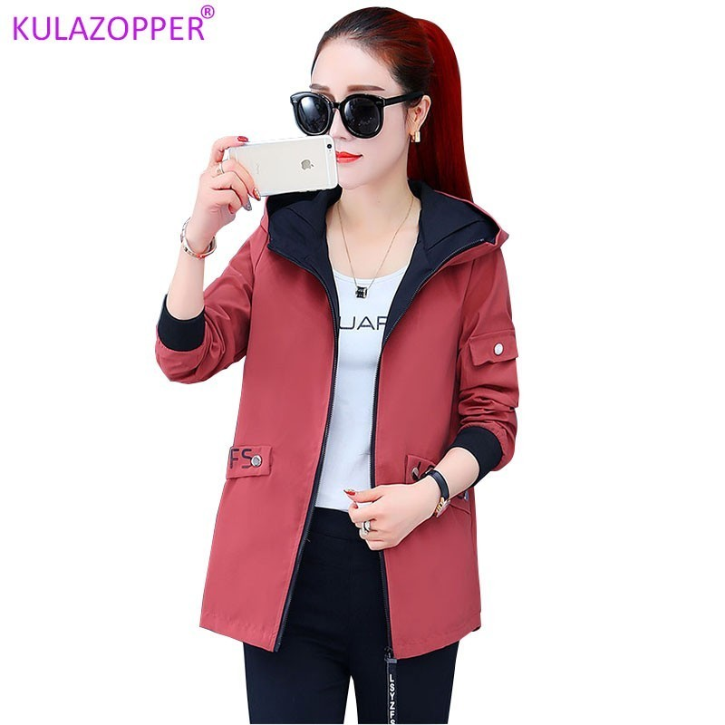 KULAZOPPER Loose short hooded   jackets   female 2019 new spring and autumn Korean   jacket   casual wild top woman   Basic     jacket   ZH018