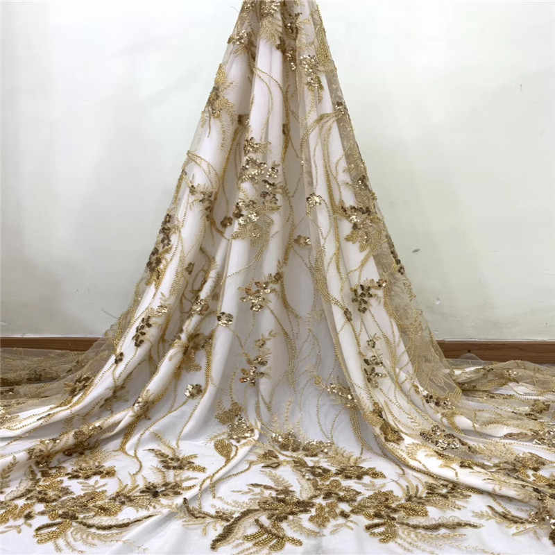 Cassiel Gold French Handmade Trim Beads Tulle Laces Fabrics 2019 Nigerian Popular Tulle Lace Fabric For Bridal Wedding Dress