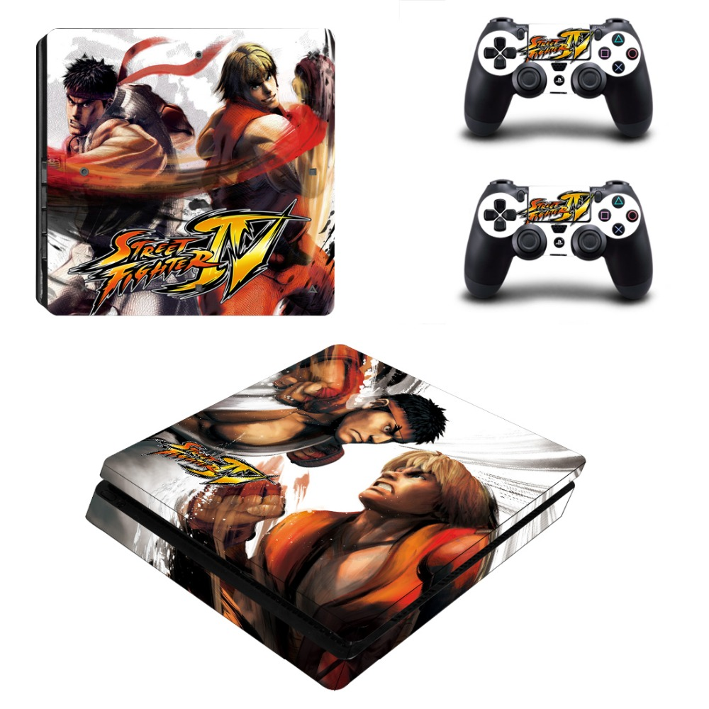 Street fighter ps4 slim skin stickers cover protector for sony playstation 4 slim console and 2 controllers stickers