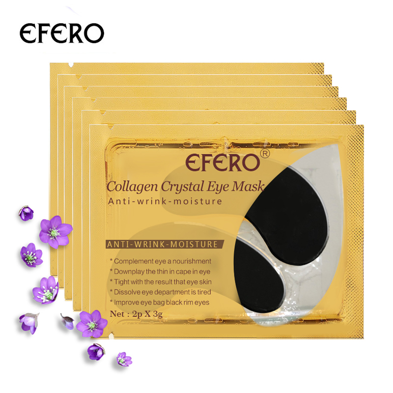 EFERO 5pairs Black Collagen Crystal Eye Mask Face Mask Gel Eye Patches for Eye Bags Anti Wrinkle Dark Circles Eye Pads Skin Care mabox natural eye gel for appearance of dark circles puffiness wrinkles and bags for under and around eyes eye gel essence gel
