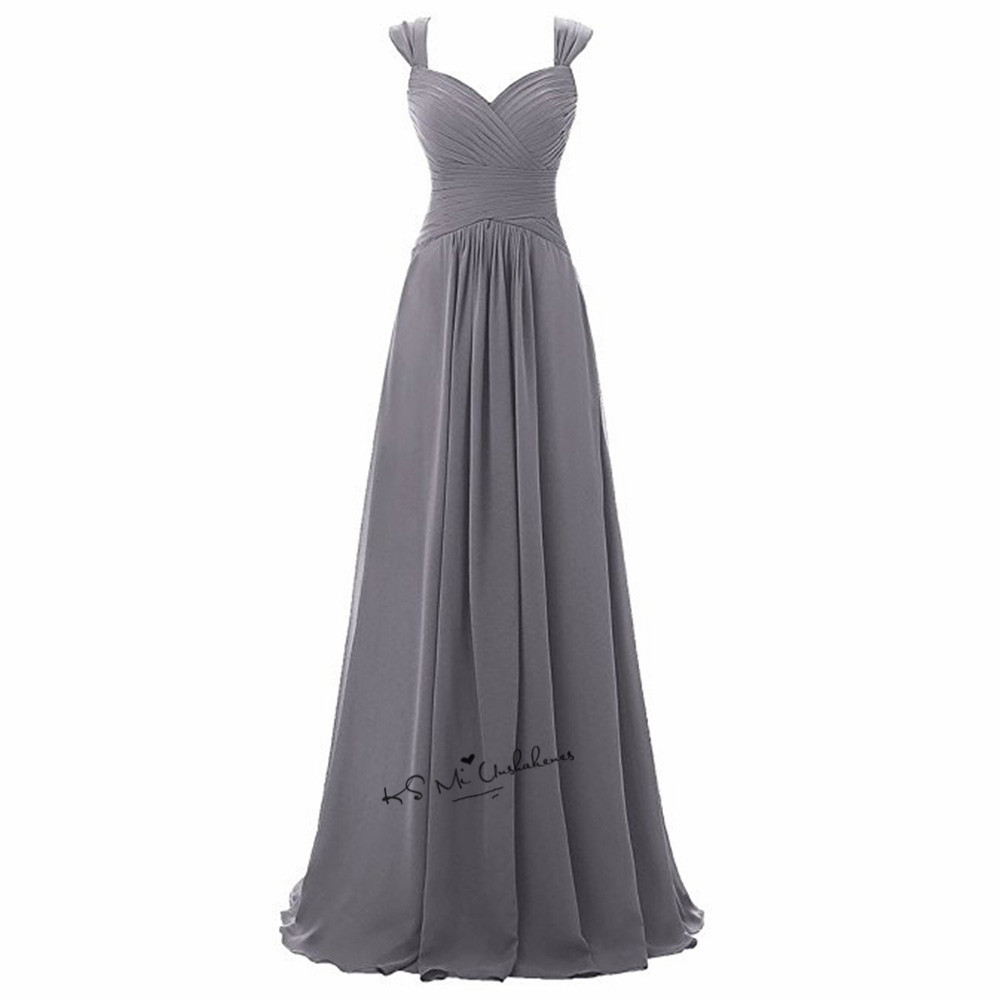 Robe Demoiselle d'honneur Gray   Bridesmaid     Dresses   Long Elegant Wedding Party   Dress   Straps Custom Made Cheap Prom Gowns Jurken