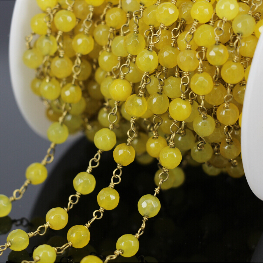 Fashion 5Meter Yellow Chalcedony Faceted Round Bead Chain,Brass Wire Wrapped  Rosary Chain Necklace bracelet Jewelry Findings
