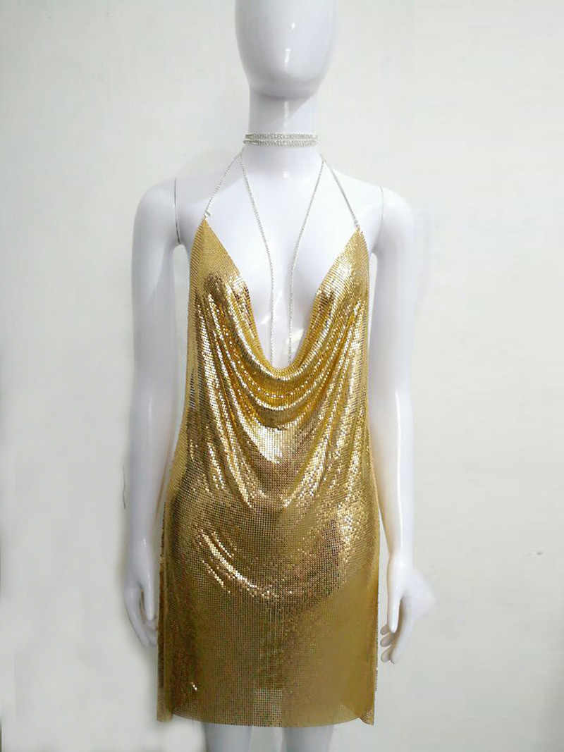 82ea1bdcce ... Bonnie Forest Sexy Deep V Neck Gold Sequined Metallic Halter Backless Party  Dress Kendall Jenner s Nightclub ...
