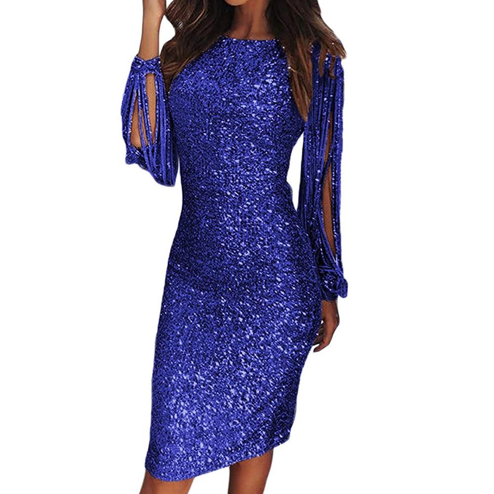 2019 robe femmes Vestido Longo Zanzea femmes livraison gratuite 2019 robe nouveau paillettes col rond frange manches longues Slim Fit hanche
