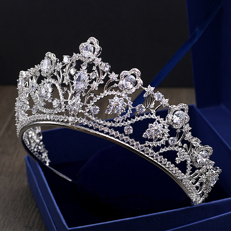Big Paved Zircon Crown Full Cubic Zirconia Tiara CZ Tiaras Vintage Bridal Diadema Wedding Hair Accessories