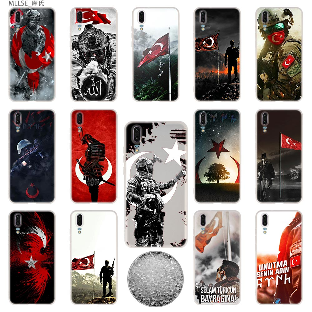 TPU Cover Phone Cases Soft For Huawei P 20 pro P10 Plus P9 P8 lite 2017 P30 pro samrt 2019 Nova 3e Turkey Flag Soldier