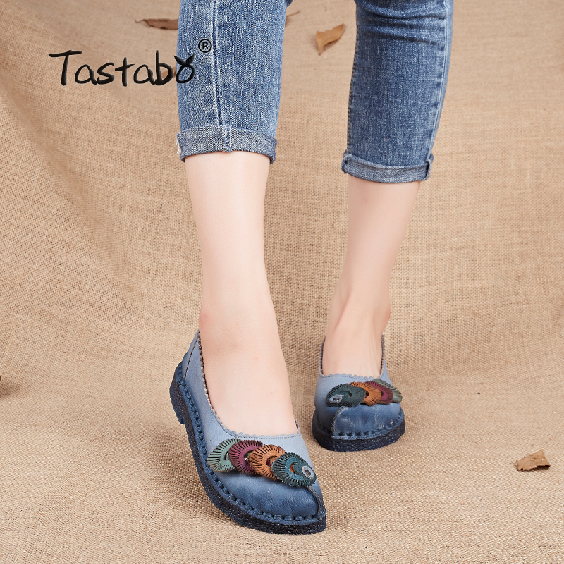 Tastabo Genuine Leather Flat Shoes Plus Size Real Leather Handmade Flats Loafers Female Solid Comfortable Casual