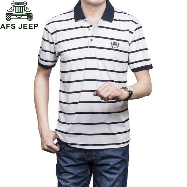 Afs Jeep Polo Brand 2017 Summer Casual Polo Shirt Men Striped Cotton Breathable camisa masculina Loose Big Size Polo homme